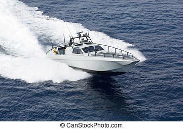 rápido, barco, en, mar mediterráneo
