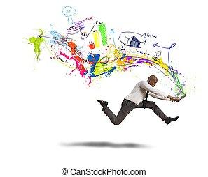 rápido, creativo, empresa / negocio