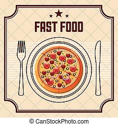 rápido, delicioso, alimento