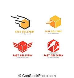 rápido, logotipo, entrega