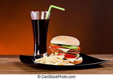 rápido, sabroso, franch, hamburguesa, soda, alimento, fríe