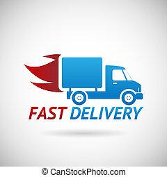 rápido, silueta, símbolo, envío, entrega, vector, camión, ilustración, plantilla, diseño, icono