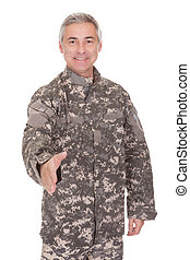 ráz, kihúzható, katona, érett, kéz