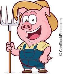 râteau, cochon, tenue, paysan