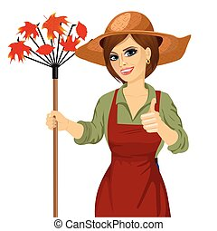 râteau, femme, chapeau, jardin, tenue