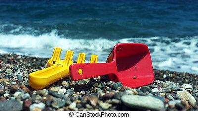 râteau, pelle, plage, enfant