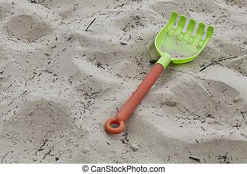 râteau, pelle, sable plage