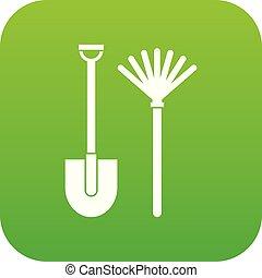râteau, pelle, vert, icône, numérique