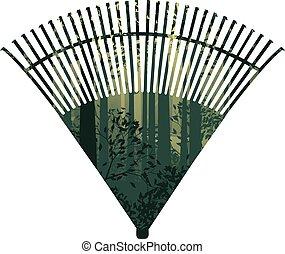 râteau, ventilateur, forêt