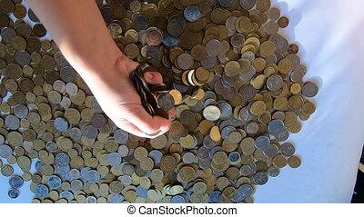 râteaux, pièces, poignée, renverse, table, personne, verse, ...