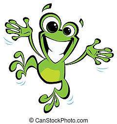 rã, excitado, pular, sorrindo, caricatura, feliz