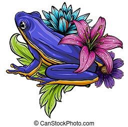 rã, saudação, folhas, vetorial, roto, floral, flores,...