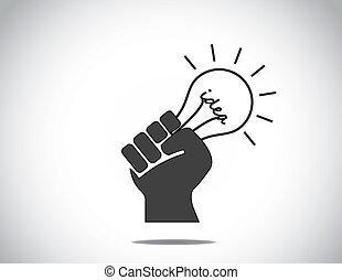 räcka lämna, idé, mänsklig, lightbulb