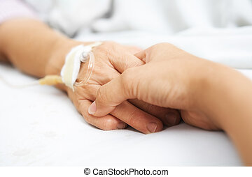 räcka lämna, sjukhus, dotter, henne, mor