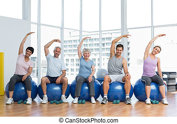 räcker, övning, sittande, sträckande, gymnastiksal, klumpa ihop sig, klassificera