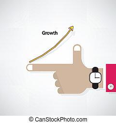 räcker, av, affärsman, med, graf, ökning, fond
