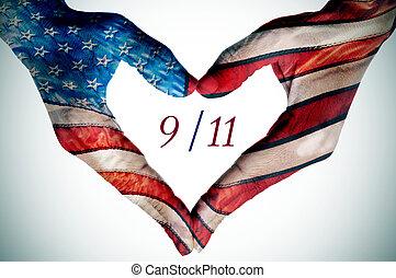 räcker, formning, a, hjärta, mönstrad, som, den, flagga av...