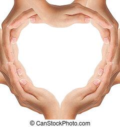 räcker, göra, hjärta gestalta