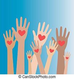 räcker, hjärta, 3, donator, begrepp, donation