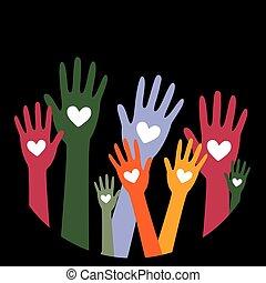 räcker, hjärta, concept2, donator, donation