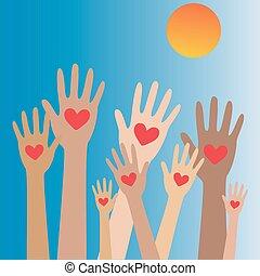 räcker, hjärta, concept4, donator, donation