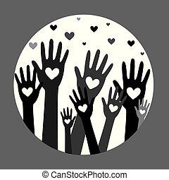 räcker, hjärta, donator, 4, begrepp, donation