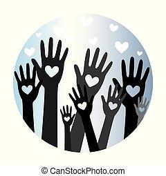 räcker, hjärta, donator, 5, begrepp, donation