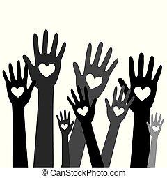 räcker, hjärta, donator, begrepp, donation