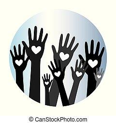 räcker, hjärta, donator, concept3, donation