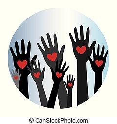 räcker, hjärta, donator, concept8, donation
