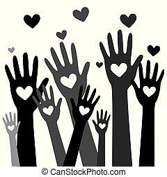 räcker, hjärta, donator, concept9, donation