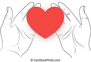 räcker, hjärta, röd