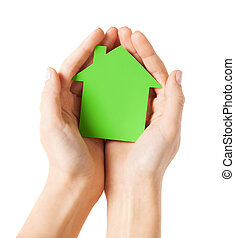 räcker, holdingen, grön, papper, hus
