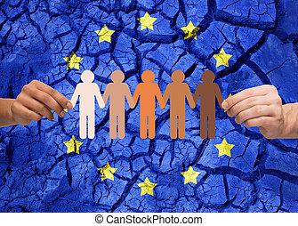 räcker, holdingen, kedja, av, folk, över, flagga, av, europa
