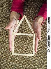 räcker, holdingen, modell, hus, gjord, av, trä, klistra fast