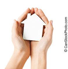 räcker, holdingen, vit, papper, hus