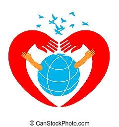 räcker, krama, bilda, planet, hjärtan