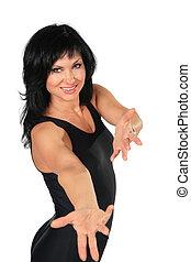 räcker, kvinna, brunett, invitera, fitness