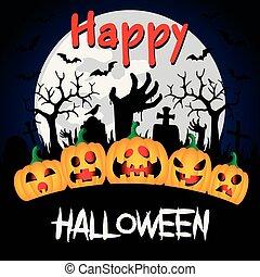 räcker, kyrkogård, halloween, lycklig, bakgrund, pumpor, zombie, rolig