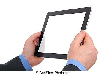 räcker, pekande, ram, digital, screen., samtidig, holdingen, tom