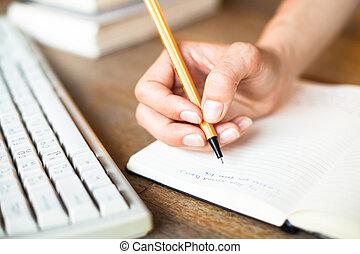 räcker, skriver, a, penna, in, a, anteckningsbok, dator...