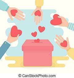 räcker, volunteering, hjärtan, boxas, hjälp, välgörenhet