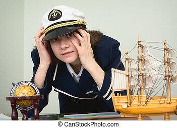 rädd, flicka, in, den, bilda, av, hav, kapten