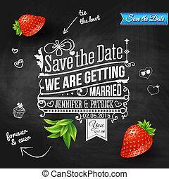 räddning, den, datera, för, personlig, holiday., bröllop inbjudan, på, chalkboard., vektor, image.