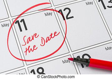 räddning, den, datera, skriftligt, på, a, kalender, -, maj,...