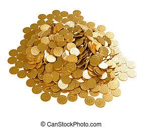 räddning, den, pengar., stack, av, gyllene, mynter