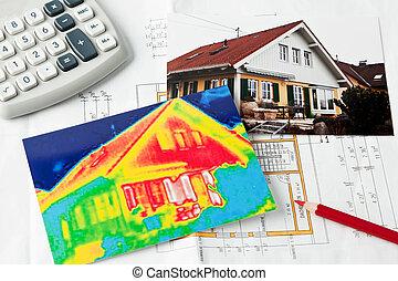 räddning, energy., hus, med, termisk, avbilda, kamera