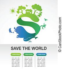 räddning, världen, -, natur, och, ekologi, infographics