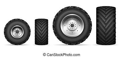 räder, satz, lastwagen, traktor