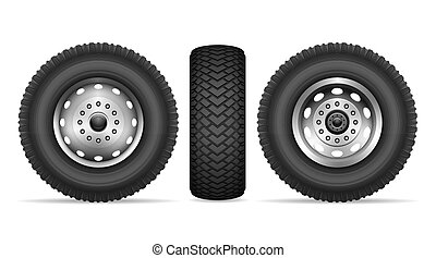 räder, vektor, lastwagen, satz
